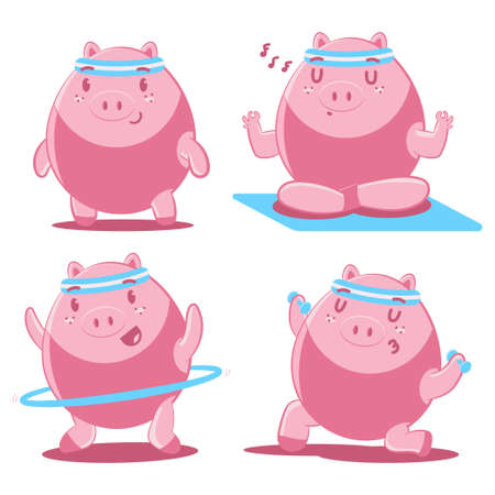 Cute pigs doing yoga and fitness exercises vector cartoon characters set isolated on a white background. 일러스트