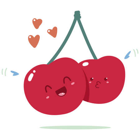 Cute cherry vector cartoon character isolated on a white background.