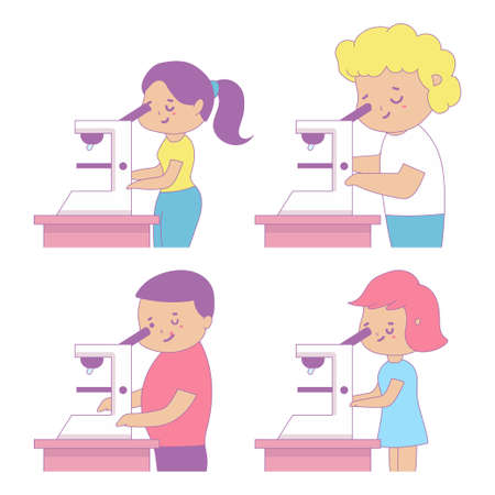 Cute school kids looking in microscope vector cartoon illustration isolated on a white background. 일러스트