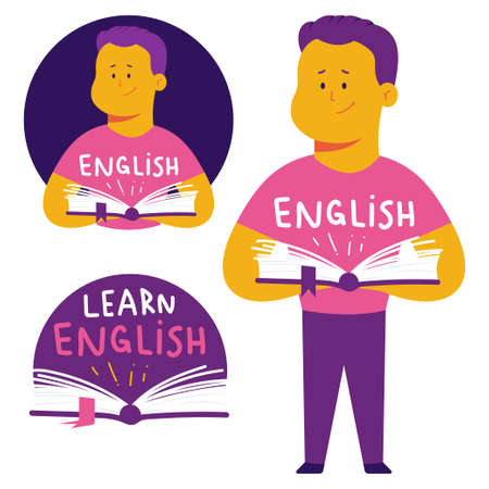 Learn English language vector concept illustration with man and book. 일러스트