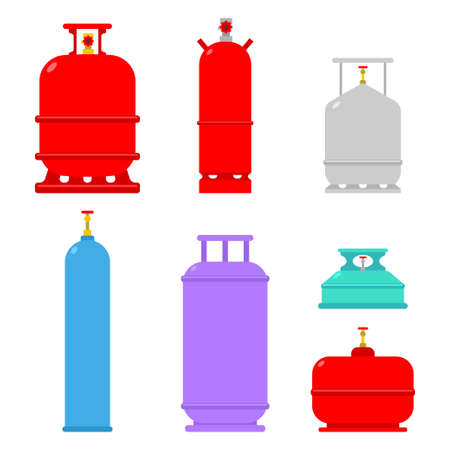Gas cylinders vector set isolated on white background.