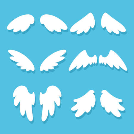 Cute angel wings vector cartoon set isolated on background.