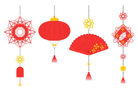 Chinese New Year decorations vector flat set isolated on a white background.