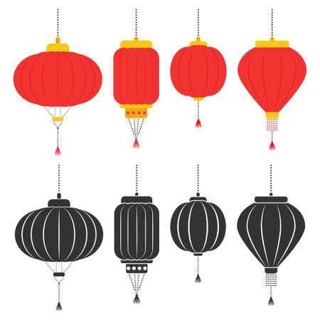 Chinese lanterns vector flat set isolated on a white background.