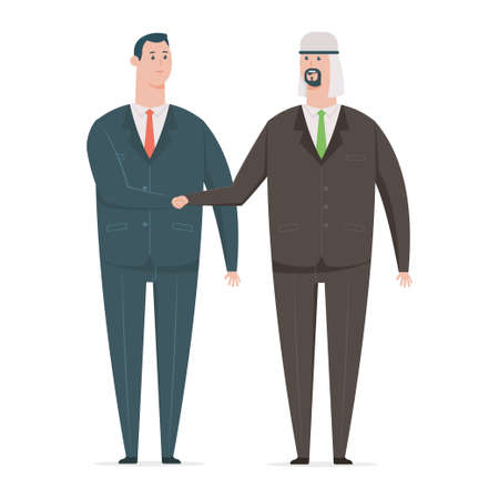 Arab businessman handshake with a business partner. Vector cartoon character of office workers from different countries isolated on white background.