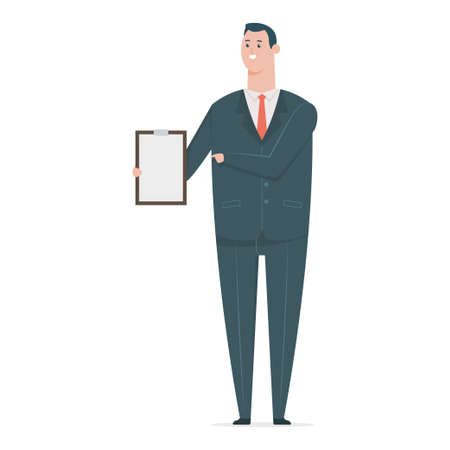 Happy business man in suit with paper clipboard. Vector flat cartoon office worker character isolated on white background.