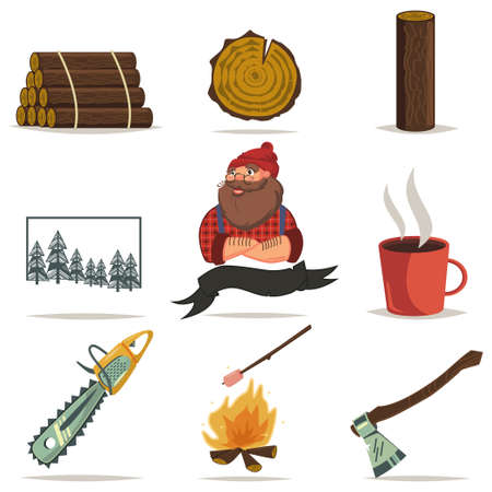 Lumberjack, timber and woodworking tools vector cartoon icons set isolated on white background. Chainsaw, axe, tree ring, log wood, forest and more.