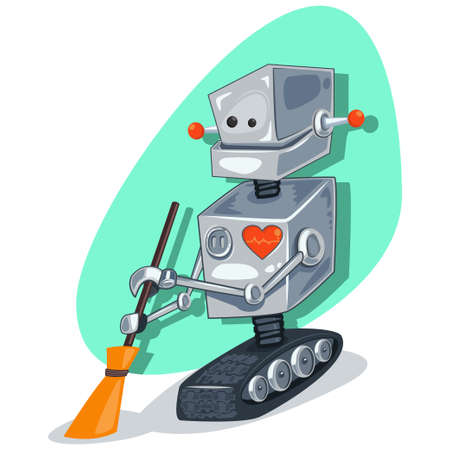 Robot cleaner character with a broom. Vector cartoon cleaning illustration.