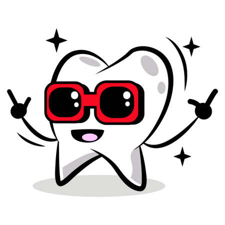 Happy tooth in red sunglasses vector cartoon character isolated on white background.