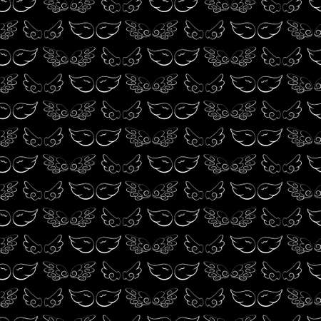 White cartoon angel wings vector seamless pattern on a black background for wallpaper, wrapping, packing, texture and backdrop.