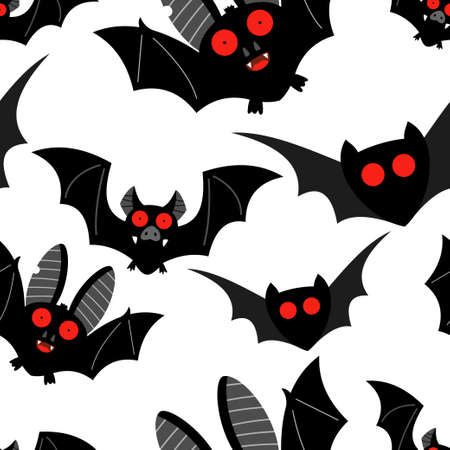Bat vector seamless pattern on a white background for holiday Halloween. Иллюстрация