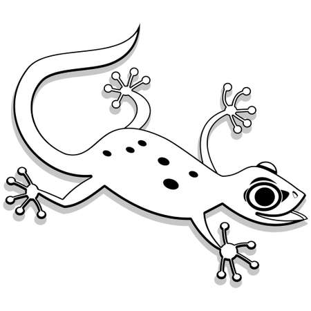 Coloring book page for children - cartoon gecko. Vector illustration.