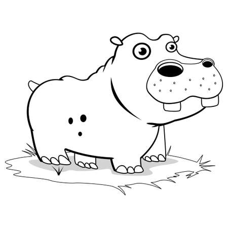 Coloring book page for children - cartoon hippo. Vector illustration. Ilustracje wektorowe