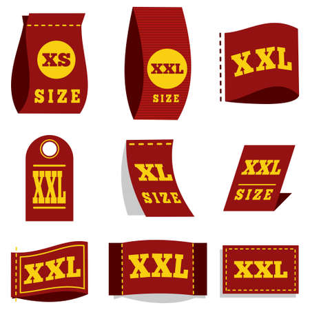 Label size tag for clothes with the symbol dimension - XS, XL, XXL. Vector icons set isolated on white background.