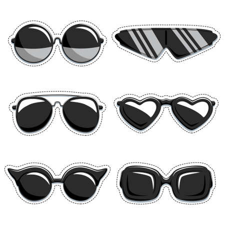 Silhouette of sunglasses vector set of stickers. Fashion decorative labels. Collection of design elements isolated on white background.