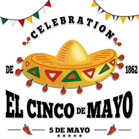 Cinco de mayo festive background, poster, banner, flyer, postcard. Vector illustration for a Mexican holiday with sombrero, maracas and chili peppers.