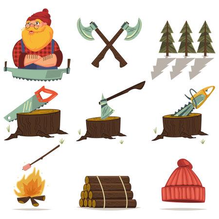 Lumberjack and woodworking tools vector cartoon set.