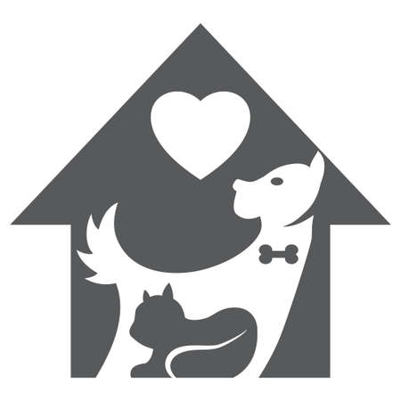 Pet shop vector logo, icon. Silhouette of a dog and a cat in an animal house with a heart isolated on a white background.