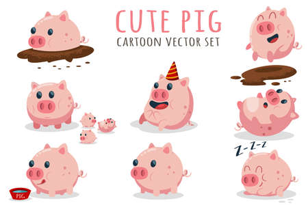 Cute cartoon pig vector set. Illustration with farm animal in different poses isolated on white background.