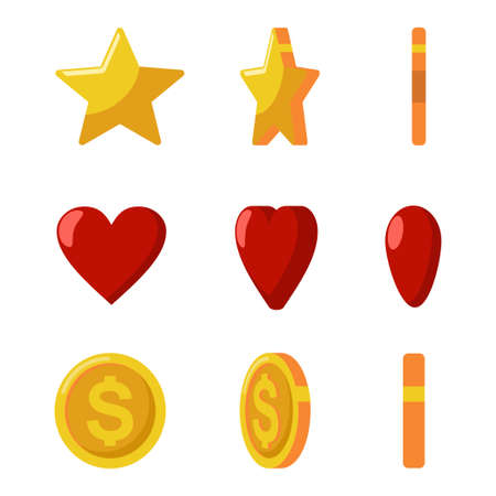 Gold coins, stars and red hearts flips. Vector game and web icons set isolated on a white background.
