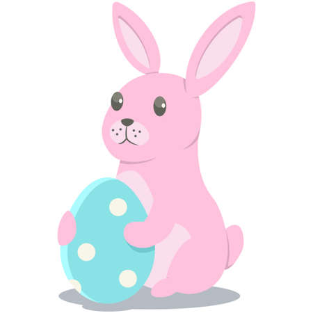 Easter bunny with egg. Rabbit vector cartoon character isolated on white background.