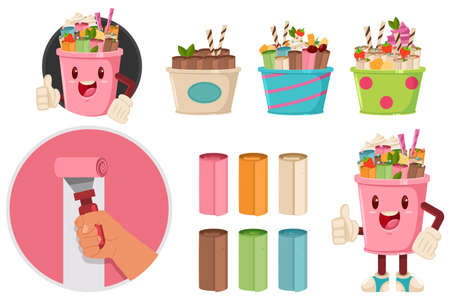 Thailand ice cream roll vector flat icon or logo, character set isolated on a white background.