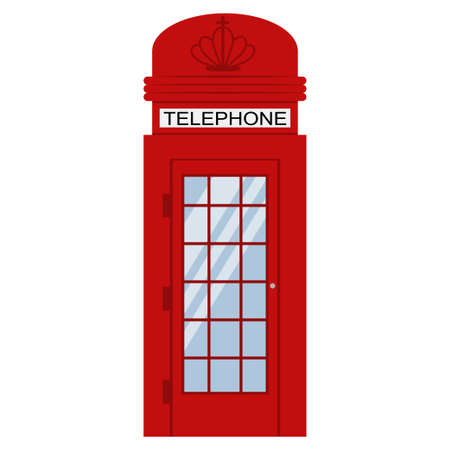 London phone red booth vector flat icon isolated on white background. Vector Illustration