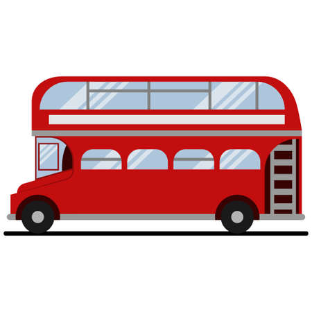 Red double-decker London bus. Vector flat icon of city tourist transport of the UK isolated on white background. Reklamní fotografie - 165730801
