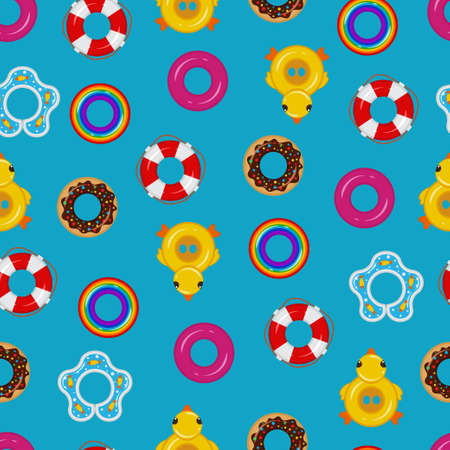 Inflatable float rubber ring vector seamless pattern on a blue background for wallpaper, wrapping, packing, and backdrop. Illustration
