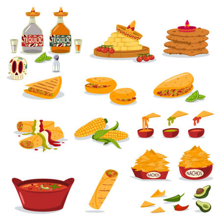 Mexican food vector cartoon flat icon set. Nachos with cheese, tequila bottle, sombrero hat, burrito, chili, corn, sugar skull, taco and avocado illustration isolated in a white background. Illustration