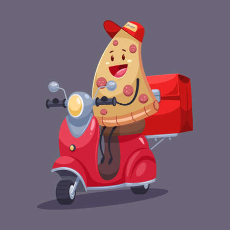 Pizza delivery. Funny food courier character on the moped with a bag. Vector cartoon cute illustration isolated on background. Illustration