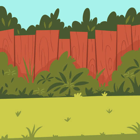 Backyard with wooden fence, garden, bushes and tree. Vector cartoon illustration.