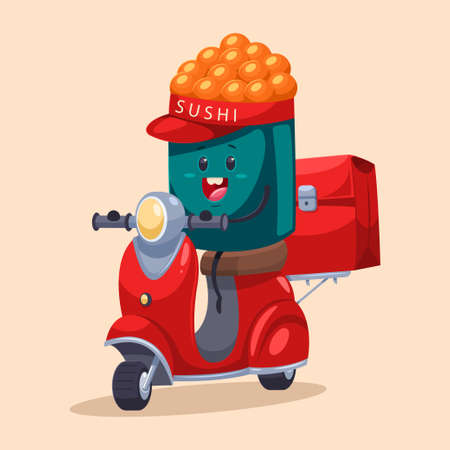 Sushi delivery. Funny food courier character on the moped with a bag. Vector cartoon illustration isolated on background.