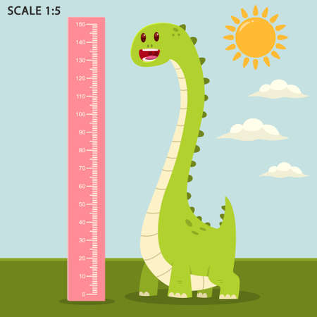 Kids meter wall with a cute dinosaur and measuring ruler. Vector cartoon illustration of an animal in summer landscape.