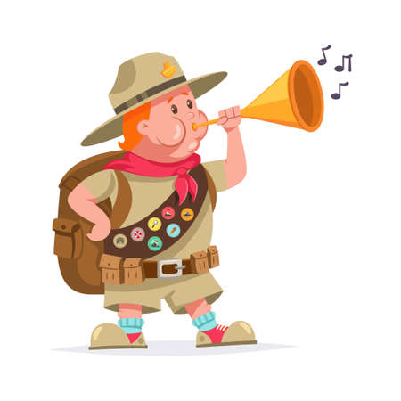 Funny scout boy with badges and blowing into the trumpet. Vector cartoon character isolated on white background. Ilustrace
