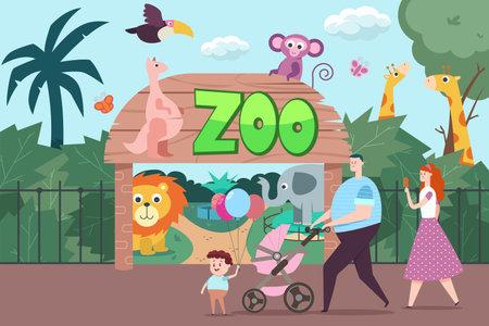 Happy family visits the zoo. Vector flat cartoon illustration with people, elephant, giraffe, kangaroo, monkey, parrot, lion and butterflies. Reklamní fotografie - 165796381