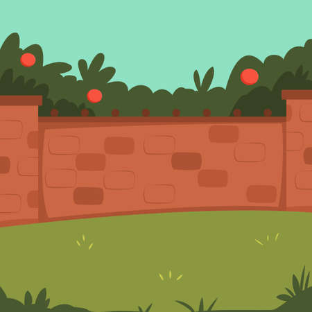 Home backyard with brick fence, garden and apple tree. Vector cartoon illustration.