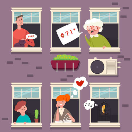 Neighbors in the windows. People character with a speech bubble. Vector cartoon flat illustration of man, woman, grandmother, kid, cat and bird in wood casement in a brick building. Illustration