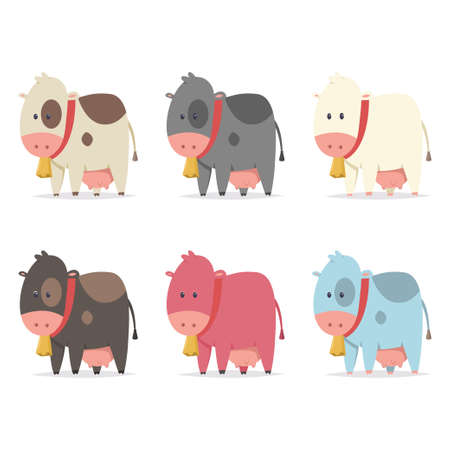 Cute cows with gold bell of different colors. Vector flat cartoon icons set isolated on white background.