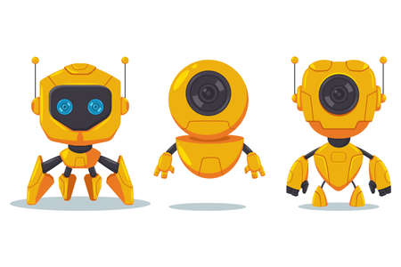 Cute robot and cyborg vector flat cartoon character set isolated on white background. Illustration