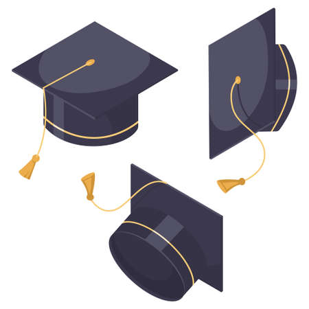 Graduation hat set. Vector flat cartoon cap icons in different positions isolated on white background. Ilustrace
