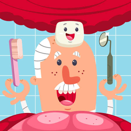 Dentist examines the first tooth in the oral cavity of the baby. Vector cartoon character of a funny doctor with a toothbrush and medical mirror.