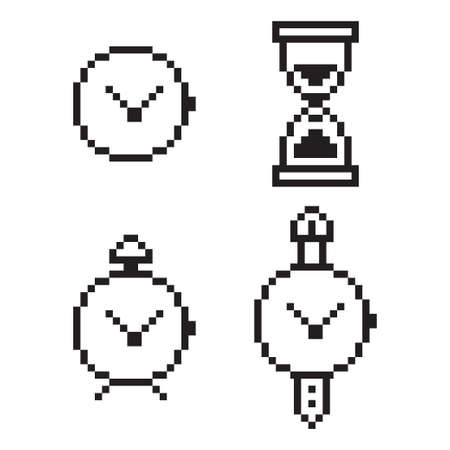 Pixel art clock, alarm, stopwatch and hourglass. Vector 8 bit game web icon set isolated on white background.