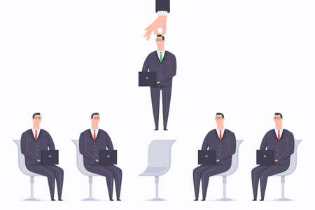 Employer hand pick an employee from a group of business people with laptops. Recruiting process vector cartoon flat concept illustration with selected staff.