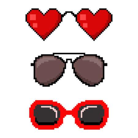 Pixel art sunglasses. Vector 8 bit game web icon set isolated on white background.