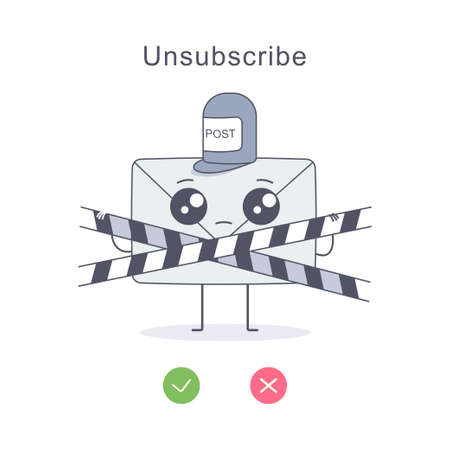 Unsubscribe vector cartoon flat illustration with newsletter postman character, caution tape and yes or no check marks isolated on white background.