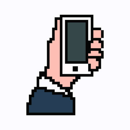 Pixel art phone in hand. Vector 8 bit web icon isolated on white background. Reklamní fotografie - 166668039