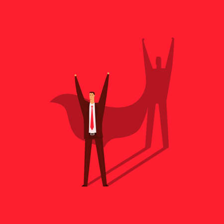 Businessman with a shadow of a superhero. Vector cartoon flat business concept illustration of leadership and success isolated on red background.