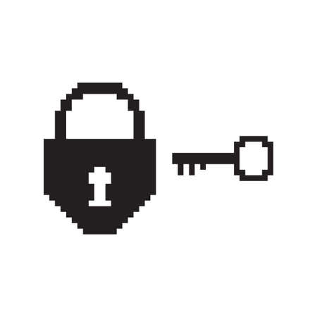 Pixel art lock and key. Vector 8 bit game web icon isolated on white background. Illustration