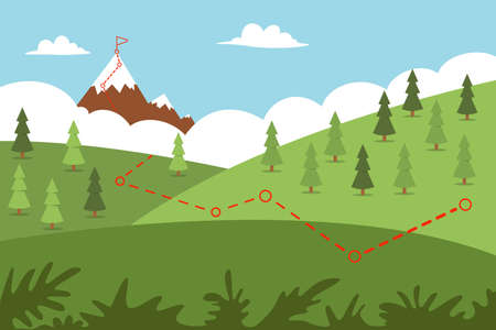 Mountain climbing route with path to the top and flag. Vector cartoon flat illustration of a landscape.